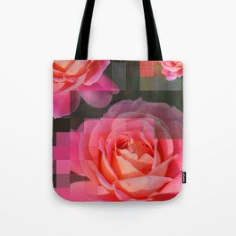 Rose Abstract des 1, Abstract, Pixilate, Geometric, Digital Tote Bag