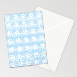 Puppy Paw Print Blue Abstract Stationery Cards