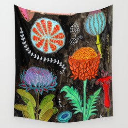 Gardening At Night Wall Tapestry