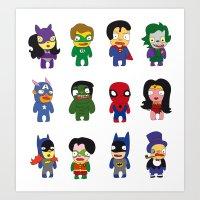 superheroes Art Prints featuring superheroes by Manola  Argento
