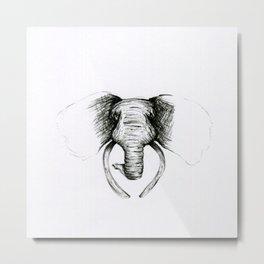 Sketch Elephant Metal Print