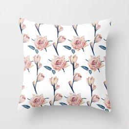 Elegant Girly Blush Pink Blue Painted Roses Throw Pillow