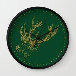 Deer Green Gold Wall Clock