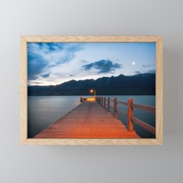 Moon rising at Glenorchy wharf, NZ Framed Mini Art Print