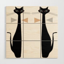 Mid-Century Modern Art Cat Double 1.0T Wood Wall Art