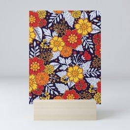 Red, Yellow, Orange & Navy Blue Flowers/Floral Pattern Mini Art Print