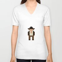 indiana V-neck T-shirts featuring Indiana Jones by Pixel Icons