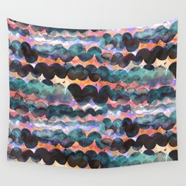 Abstract sea waves - Orange and blue beach sunset Wall Tapestry