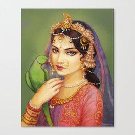 Sri Radha with Parrot Canvas Print