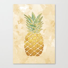 Golden Watercolor Pineapple Canvas Print