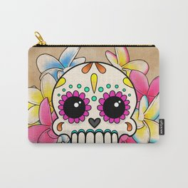 Calavera con Flores - Sugar Skull with Frangipani Flowers Carry-All Pouch