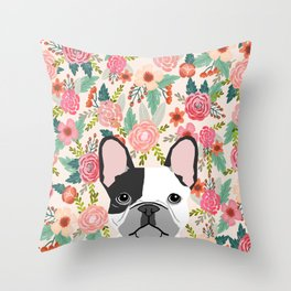 French Bulldog  floral dog head cute frenchies must have pure breed dog gifts Throw Pillow