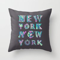 nyc Throw Pillows featuring NYC by Fimbis