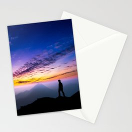 sunset hiker Stationery Cards