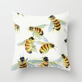 All About Bees Throw Pillow