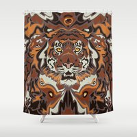 tigers Shower Curtains featuring Tigers by Darish