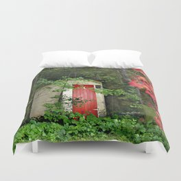 The Red Outhouse Door Duvet Cover