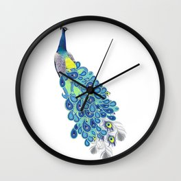 Peacock - Green, Yellow and Gray Wall Clock