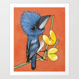 Ned the Blue Bird Art Print