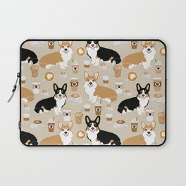 Corgi coffee welsh corgis dog breed pet lovers tan corgi crew Laptop Sleeve