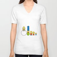 simpsons V-neck T-shirts featuring the simpsons family by NHTT