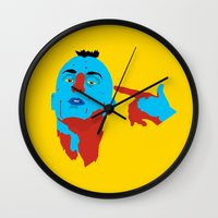 taxi driver Wall Clocks featuring Taxi Driver by Eduardo Guima