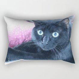 Spooky the Black Feral Halloween Sanctuary Cat Rectangular Pillow
