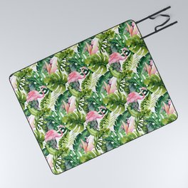 Flamingo Tropical || #pattern #tropical Picnic Blanket
