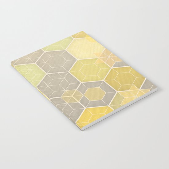Lemon & Grey Honeycomb Notebook