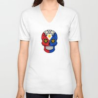philippines V-neck T-shirts featuring Sugar Skull with Roses and Flag of Philippines by Jeff Bartels