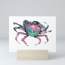 Crab Turquoise Blue Pink Crab Design Mini Art Print