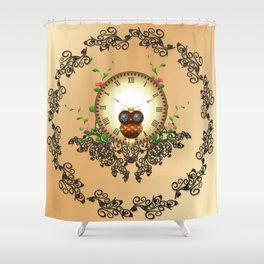 Steampunk, cute owl Shower Curtain