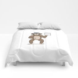 clever monkey with diploma Comforters