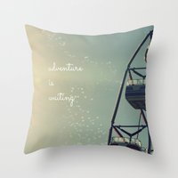 coasters Throw Pillows featuring Adventure is Waiting by RDelean