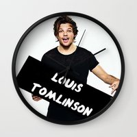 louis tomlinson Wall Clocks featuring Louis Tomlinson by girllarriealmighty