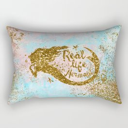 Faux Gold Glitter- REAL LIFE MERMAID On Sea Foam Rectangular Pillow