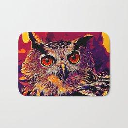 owl strix bird v2 vector art late sunset Bath Mat