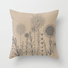 Neutral wildflowers Throw Pillow