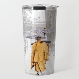 Japanese Buddhist Monks in Winter Travel Mug