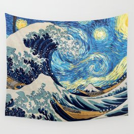 Starry (Great Wave) Night Wall Tapestry