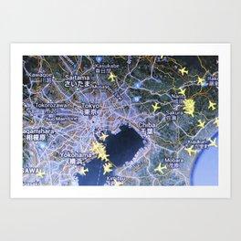 Tokyo on the radar map Art Print
