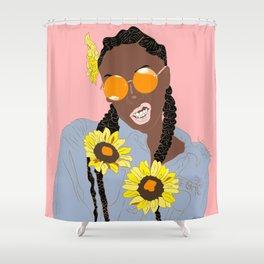 Believe in Yo Juice - Digital Black Goddess Vector Drawing Shower Curtain