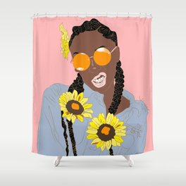 Believe in Yo Juice - Digital Black Goddess Vector Drawing Shower Curtain
