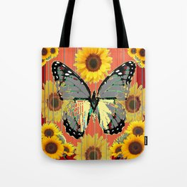 ABSTRACT  GREY BUTTERFLY  GARDEN SUNFLOWERS Tote Bag