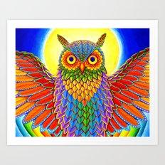 Psychedelic Rainbow Owl Art Print