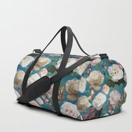 White Roses and Butterflies Duffle Bag