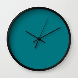 Caribbean Turquoise Green Blue Solid Color Pairs To Sherwin Williams Intense Teal SW 6943 Wall Clock