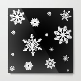 Snowflakes | Black & White Metal Print
