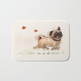 The Furminator pug watercolor like art Bath Mat