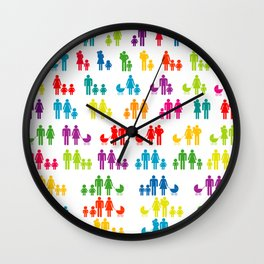 Pattern with colored family icons Wall Clock